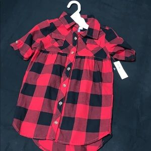 Red & Black Flannel  button down dress.